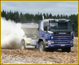 Agricultural Lime(Aglime)spread on fields by truck
